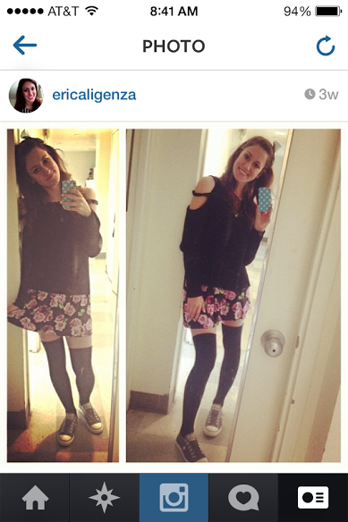 Disclaimer: I really like black. But I also really love a good floral print, and some thigh sock action.
