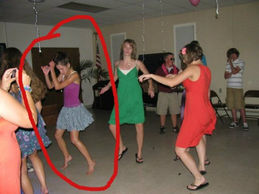 Dancing in my own little world, barefoot, with some weird arm movement. Either it's the percolator or I'm just awk.