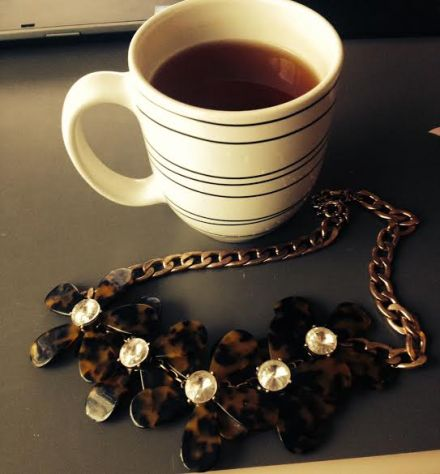 Starting my morning off with red velvet tea, courtesy of the one and only Taylor, and the coolest statement necklace ever, courtesy of the one and only Boyfriend.