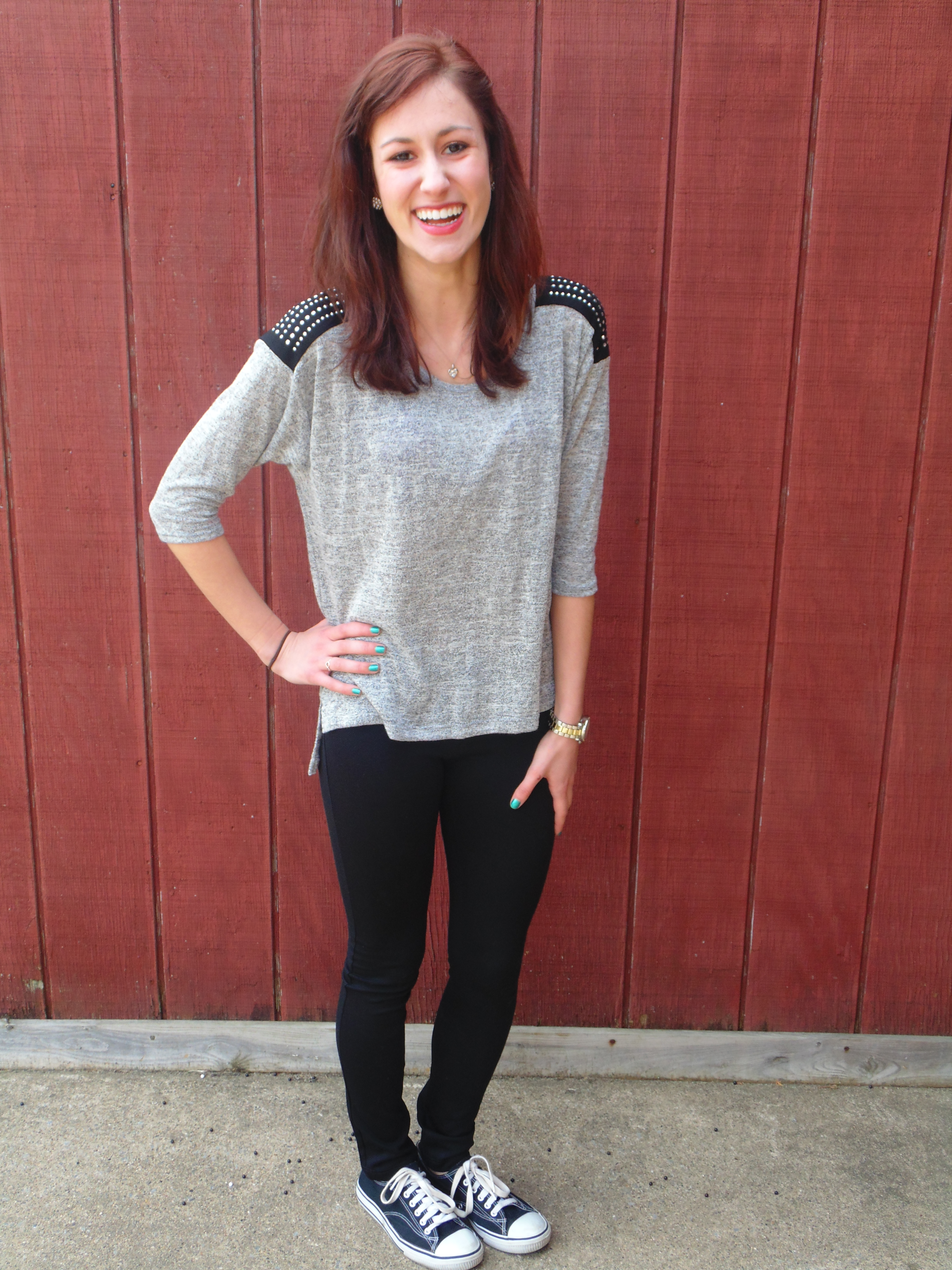 a58415062fcd4 Heather grey sweater with studded shoulder detail –  7.99. Stretchy black  pants –  10.99