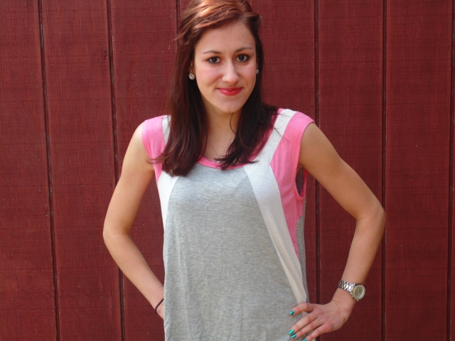 Pink, white, and grey top - $6.99