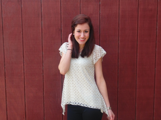 A pretty textured ivory top is perfect for adding a little class and sweetness. - $13.99