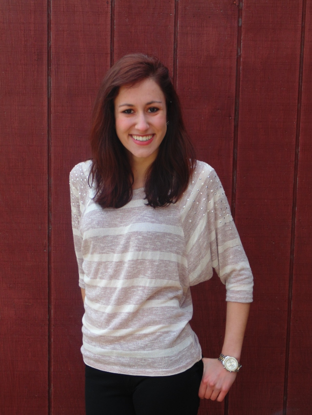 Mauve and ivory slouchy sweater - $12.99 (And check out that pearl and sparkle shoulder detail!)