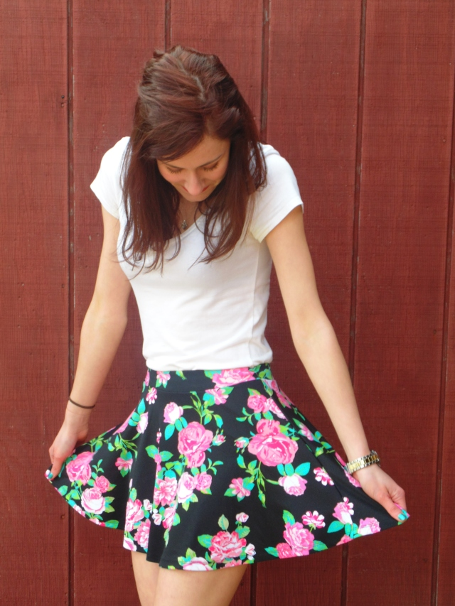 Do skaters actually wear skater skirts? That's the real question here. That, and how many floral print pieces of clothing does Erica own? (Answer: 21)  Floral Skater Skirt- $7.99